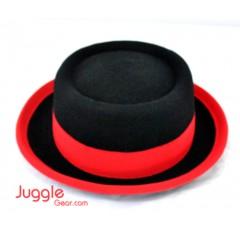 Three-Ply Pork Pie Manipulator Hat - Black/red Props Juggling & Spinning